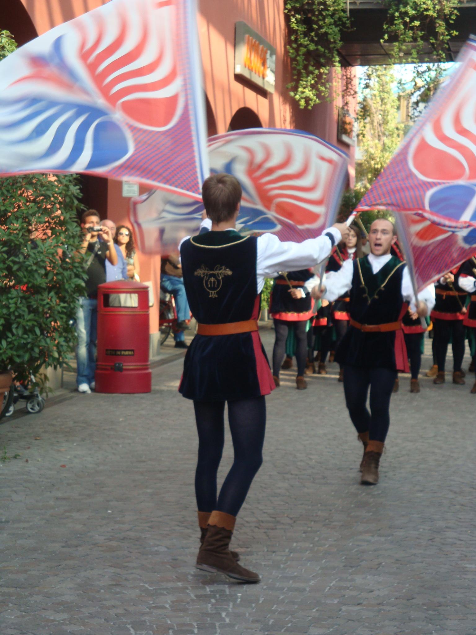 Flag throwers during Renaissance celebration