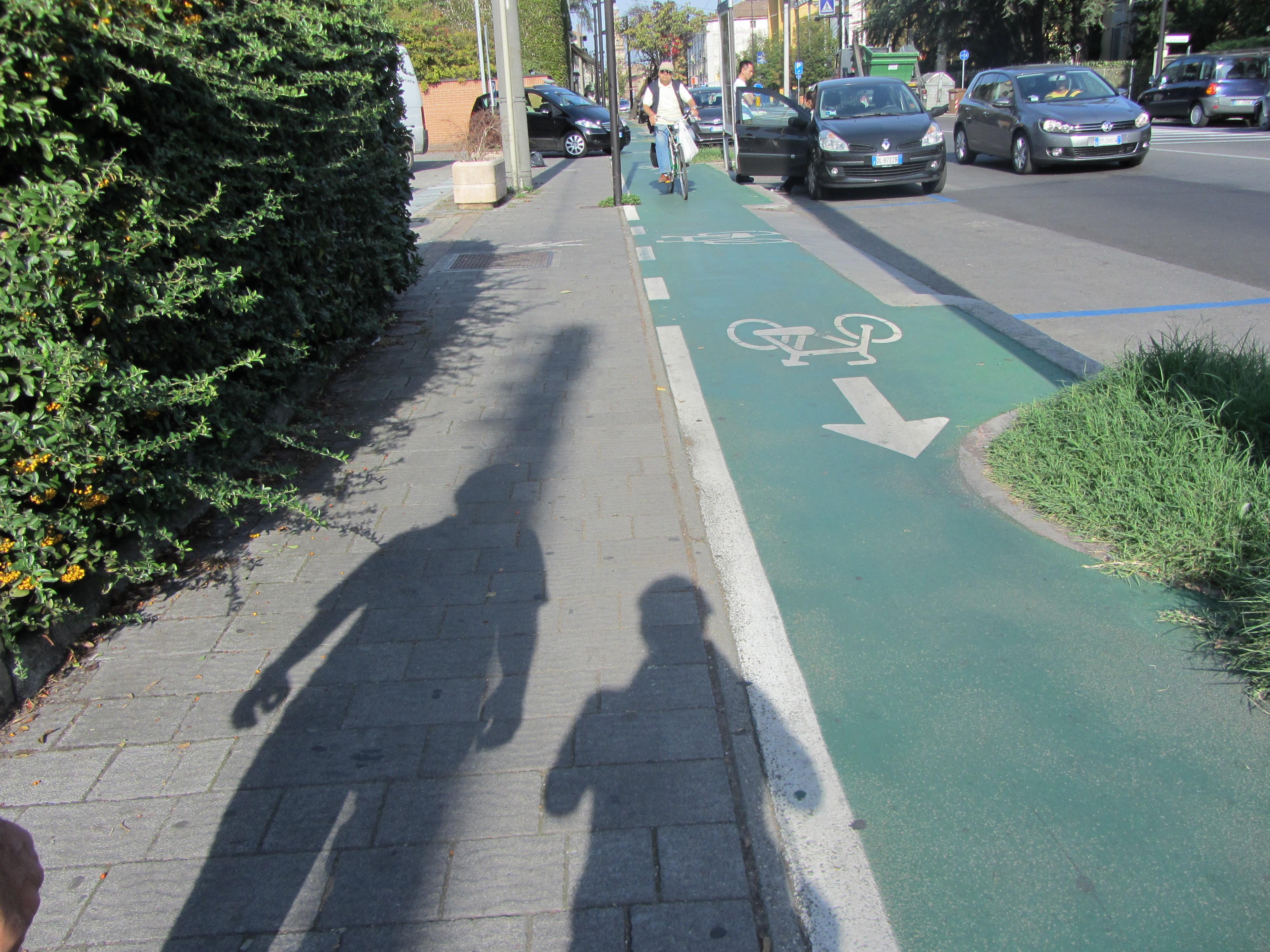 Bike alley along the sidewalk